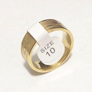 Men's Gold Toned Fishing Hook Ring, Size 10